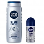 NIVEA MEN Silver Protect zestaw żel pod prysznic 500ml + antyperspirant roll-on 50ml